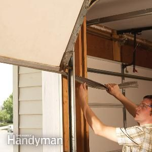 Fixing Garage Doors: Weather seal garage door, replace rotting trim, clean rusty track