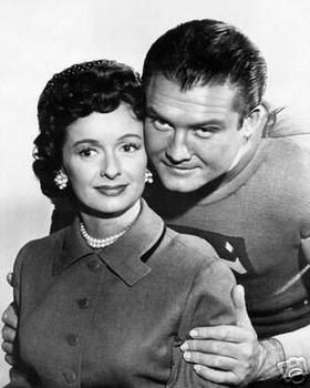 "Noel Neill as Lois Lane and George Reeves as Superman in the early 1950s TV series ""Adventures of Superman"""