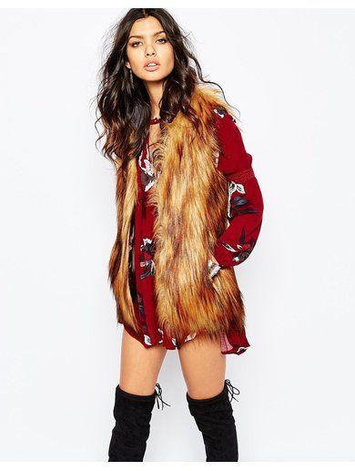 Unreal Fur Play Gilet in Ginger - Multi