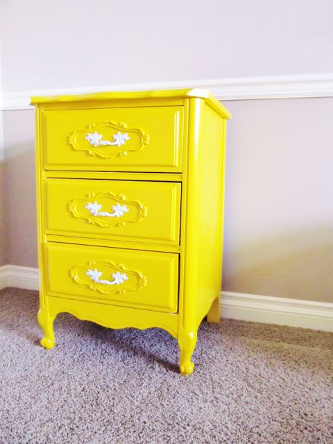 Love But Paint In High Gloss Navy Crafters In Disguise Refinished French Provincial Nightstand