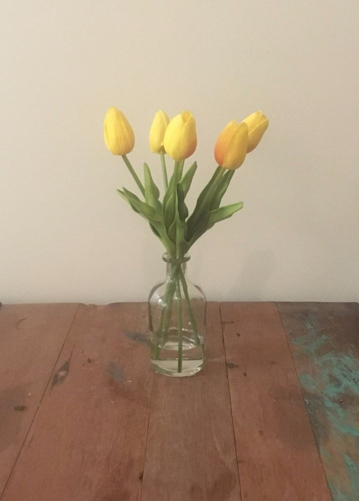 New Real Touch Artificial Fake Tulip Yellow Clear Vase Flower