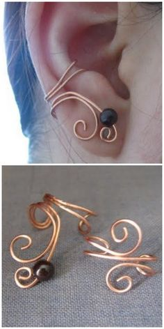 Awesome Copper Wire Ear Cuff – as far as I can see this does Not link to a tutorial. Loo…