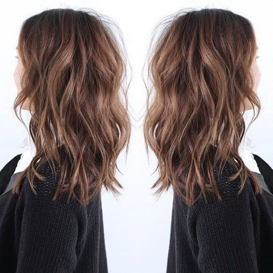 LOB hairstyle the most fashion choice of 2015~ nice brown messy hair with natural waves: