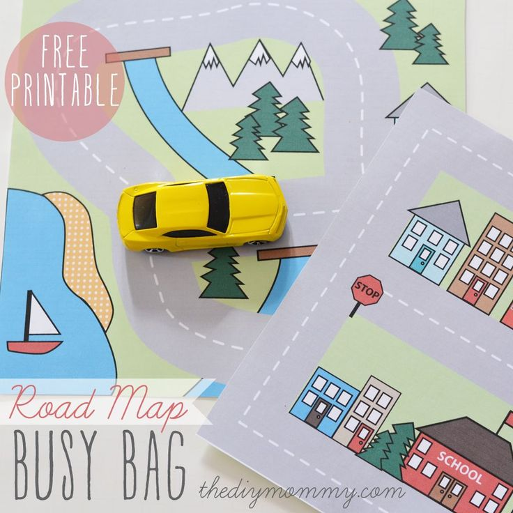 "Road Map Busy Bag (country and city ""maps"") Free Printable!"