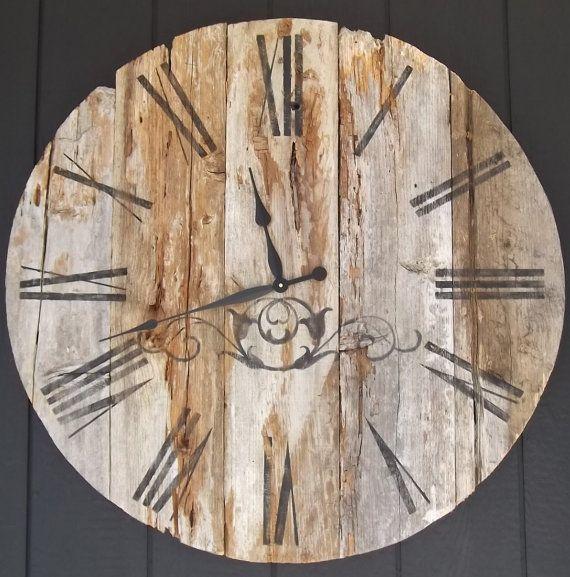 36 Inch Clock Reclaimed Wood Rustic Primitive Barn Wood