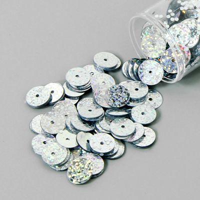 Pailletter 8mm, 12 - sølv - Bryllupsverdenen - Perlen & Pailletten - Pailletter 8mm & 10mm - stofkiosken.dk