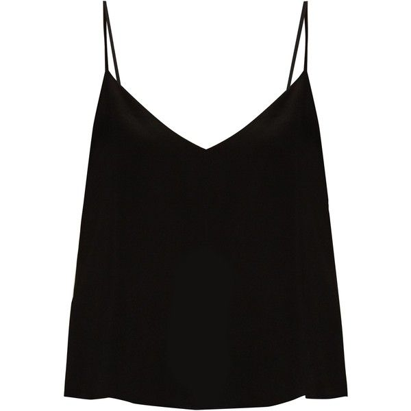 Raey Deep V-neck silk cami top found on Polyvore featuring tops, shirts, tank tops, blusas, tanks, black, camisole tank, silk top, silk cami and cami tank tops