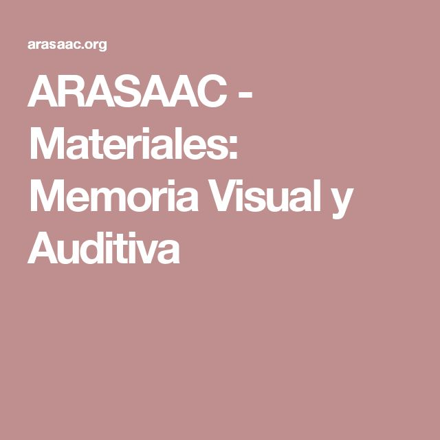 ARASAAC - Materiales: Memoria Visual y Auditiva