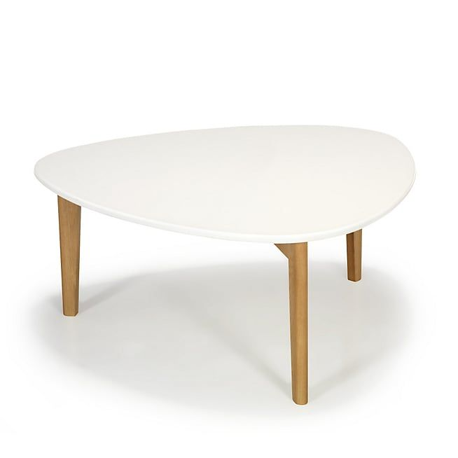 Siwa Table basse triangulaire blanche avec pieds en chêne H35cm