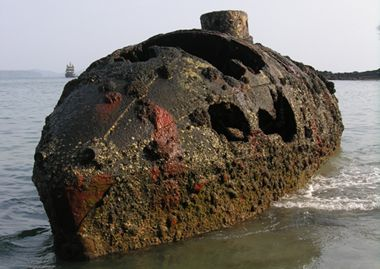 Sub Marine Explorer. Built - 1864-1865, Brooklyn, New York. Operated 1866-1869. Abandoned - 1869. Location - Isla San Telmo, Pearl Islands, Panama. This is a picture of the Sub Marine Explorer at low tide.