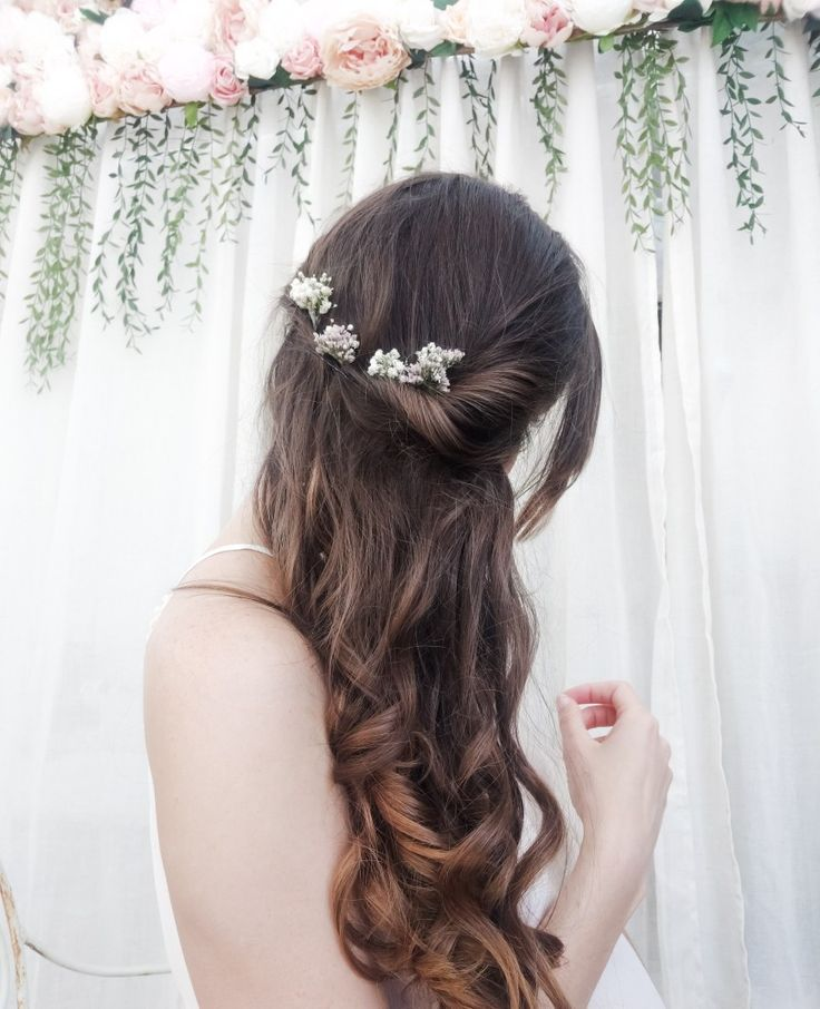 Overnight curls / diy wedding hair / dried flower hair pins, wedding hair accessories