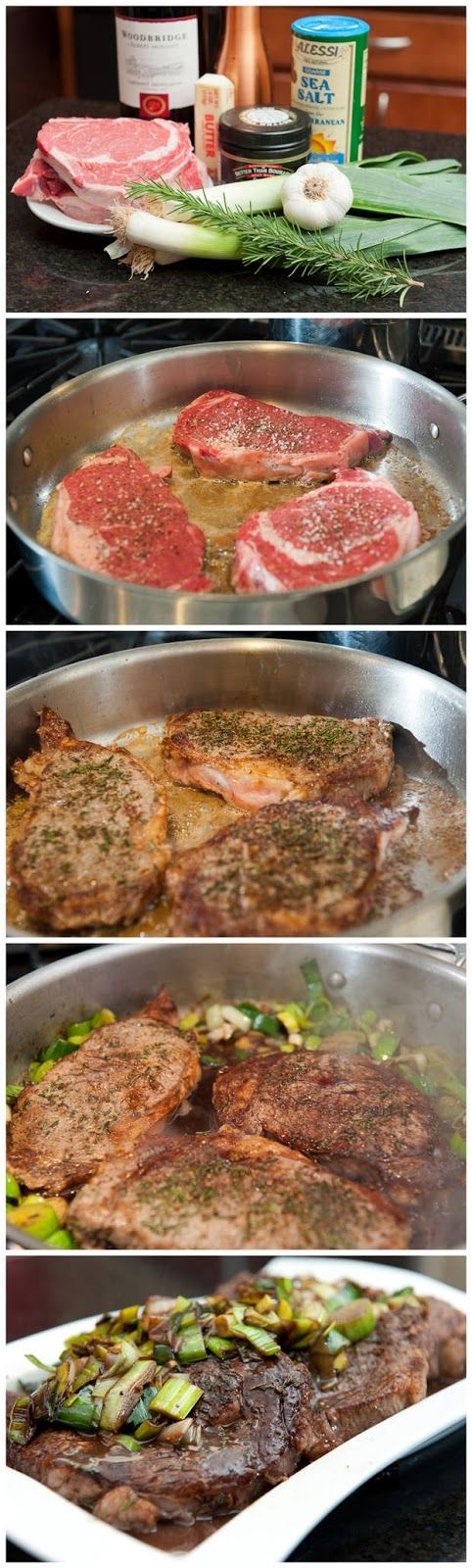 Steak with Leeks and Red Wine Butter Sauce