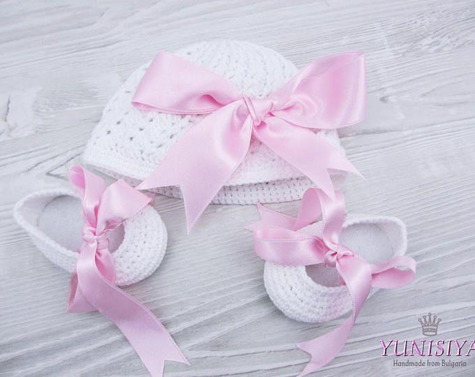 Traje de crochet set de ganchillo bebé sombrero bebé niña set bebé blanco set bailarina zapatos zapatos niña zapatos bebé niña ropa de bebé niña