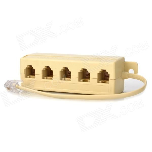Model: 7020025; interface: 1 Male to 5 females ( 1 plug to 5 jacks); 6P4C 4 wire / conductor; material: Plastic; length: 0 m; Features: Telephone splitter coupler; Can easily be mounted to a wall, ceiling or base board with the built in mount on both sides; Weight: 30 g; warranty: Not available; Packing List: 1 x Telephone coupler (10cm-cable); http://j.mp/1v2Xlqt