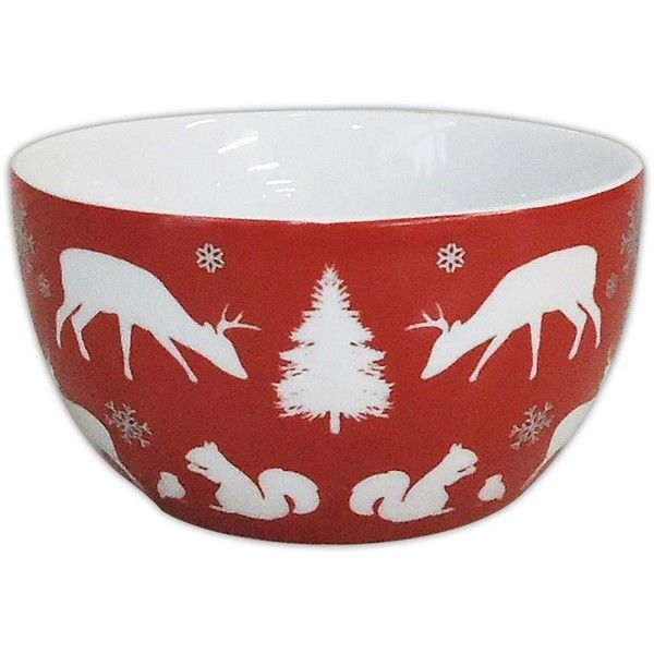 Food Network Modern Holiday Soup / Cereal Bowl () ($5.85) ❤ liked on Polyvore featuring home, kitchen & dining, dinnerware, holiday bowl, round bowl, food network dinnerware, holiday dinnerware and stoneware bowl