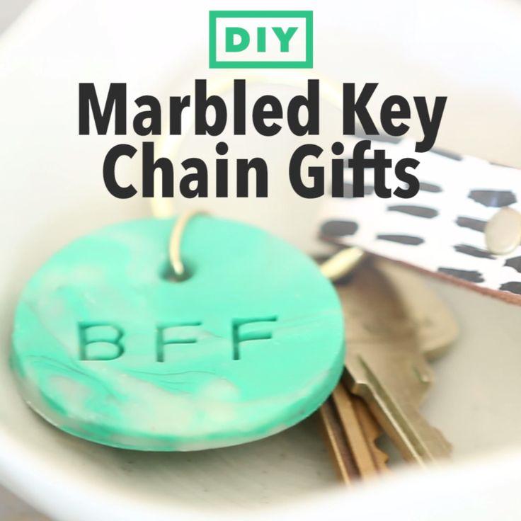 DIY Marbled Clay Keychains