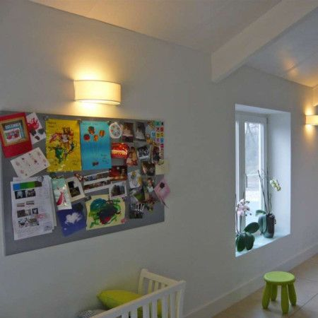 Wall lamp Drum half round off white