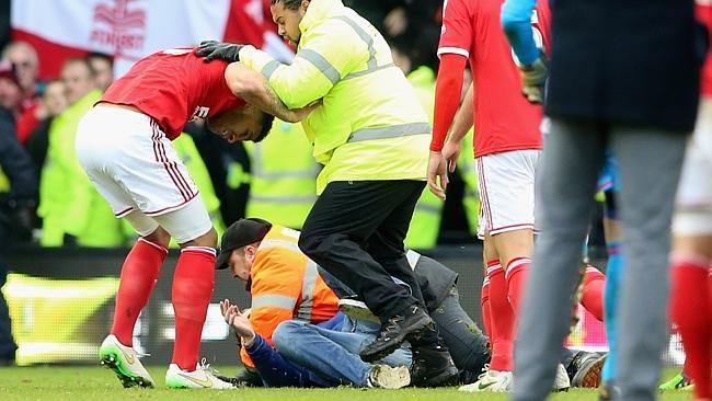 High tension as Derby fan attacks rival player