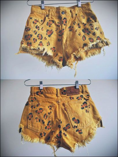Leopard print denim cut offs! 1) A pair of denim cut-off shorts.