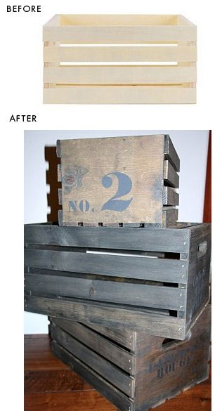 """DIY - New Crate to """"Old"""" Crate Step-by-Step Tutorial. Crates purchased at JoAnn Fabrics for $9.99 each."""