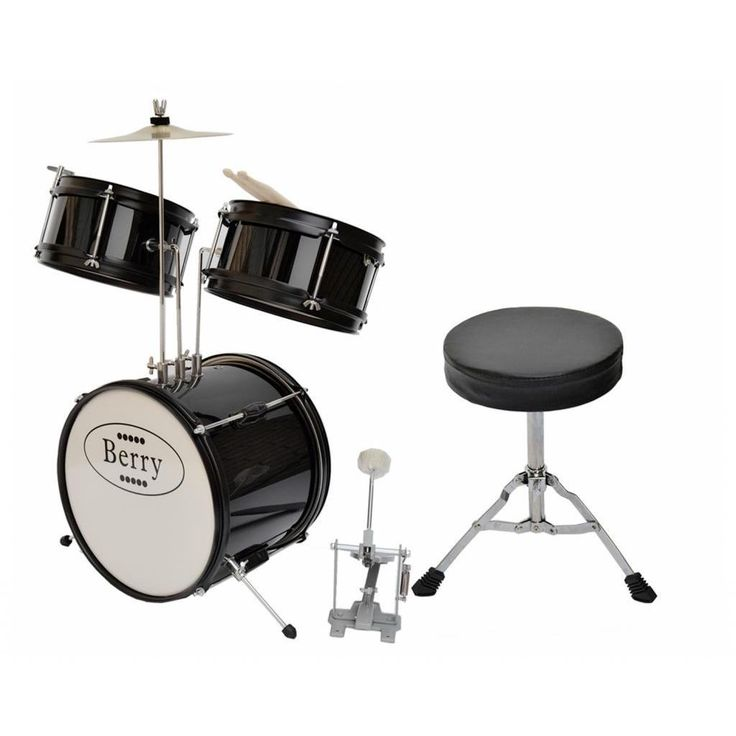 The Berry Toys Kids Junior Drum Set comes with everything that your child needs to start playing the drums like the pros. This drum set includes a 12-inch bass drum, two 8-inch tom toms, 8-inch cymbal