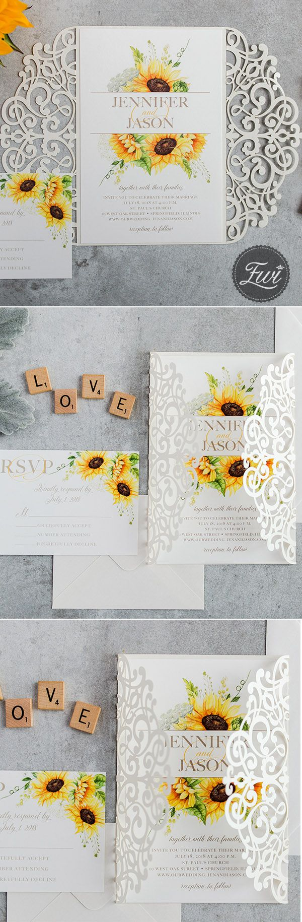 Graceful sunflower rustic wedding invitation with white laser cur wrap.#sunflower #weddings #invitations #rustic