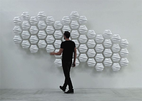 Responsive 'Hex' Wall Ripples and Wobbles Based on Nearby Motion  http://www.thisiscolossal.com/2014/02/hex-wall