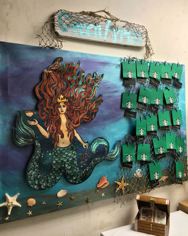 Green apron board. for #jenkintownstarbucks #starbucks #tobeapartner #greenapronboard #siren #mermaid