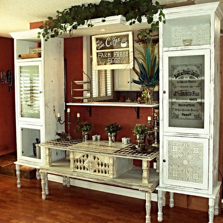 love this look!   farmhouse coffee pantry french armoire from curbside junk, chalk paint, painted furniture, repurposing upcycling, This is the final result An ugly coffee table turned into a french buffet and two outdated cabinets become functional pantries