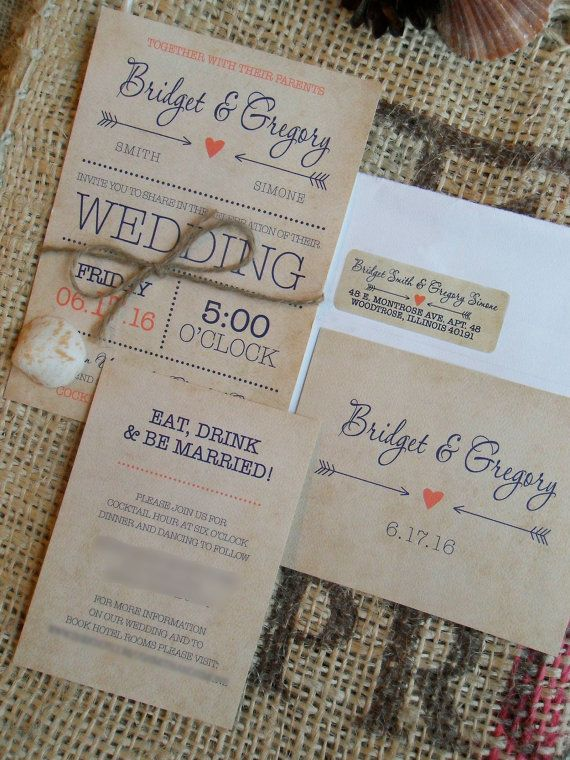 Rustic Wedding Invitations Invite Invites by SAEdesignstudio
