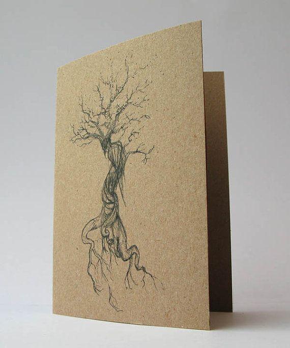 Raven Tree Art Card Dark Creepy Gothic Faery Art Drawing by Modru, €3.50