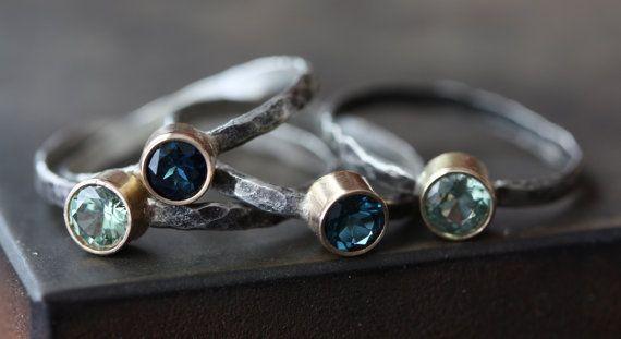 Natural Green Sapphire Ring 14kt gold bezel setting by LexLuxe, $174.00