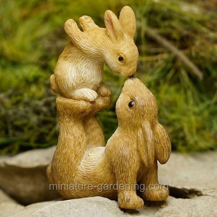 Miniature Gardening - Nose to Nose Bunnies > $4.99 #miniaturegardening #fairygarden #fairy #fairygardenideas #planningaminiaturegarden #minigarden #bunny