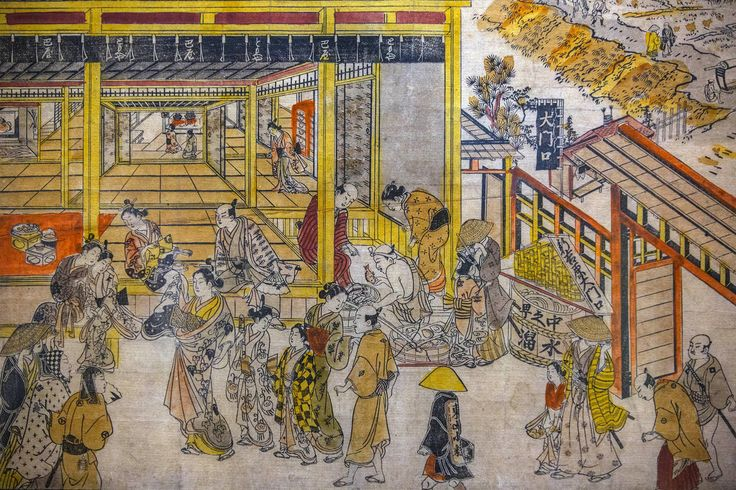 "Shin Yoshiwara,1730s–1740  An original perspective picture of the Great Gateway and Nakano-cho  выставка ""A Third Gender: Beautiful Youths in Japanese Prints,""  Japan Society. #гравюра #ксилография"