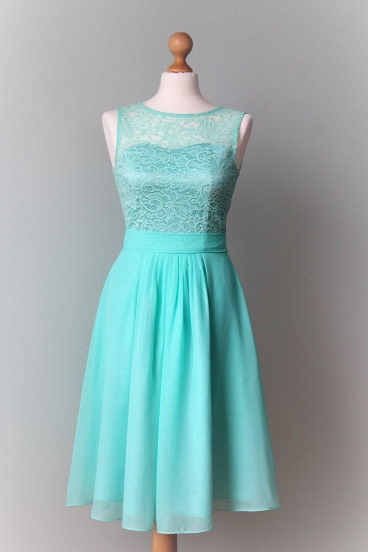 Mint bridesmaid dress Short bridesmaid dress Short mint dress Lace mint dress Mint prom dress Mint wedding Lace prom dress  Mint  dress by MelaniaStyle on Etsy