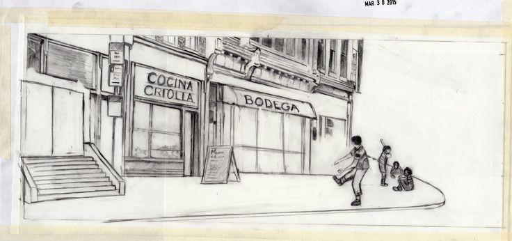 "Carolyn Dee Flores - Sketch for A SURPRISE FOR TERESITA - ""Corner Stickball"""