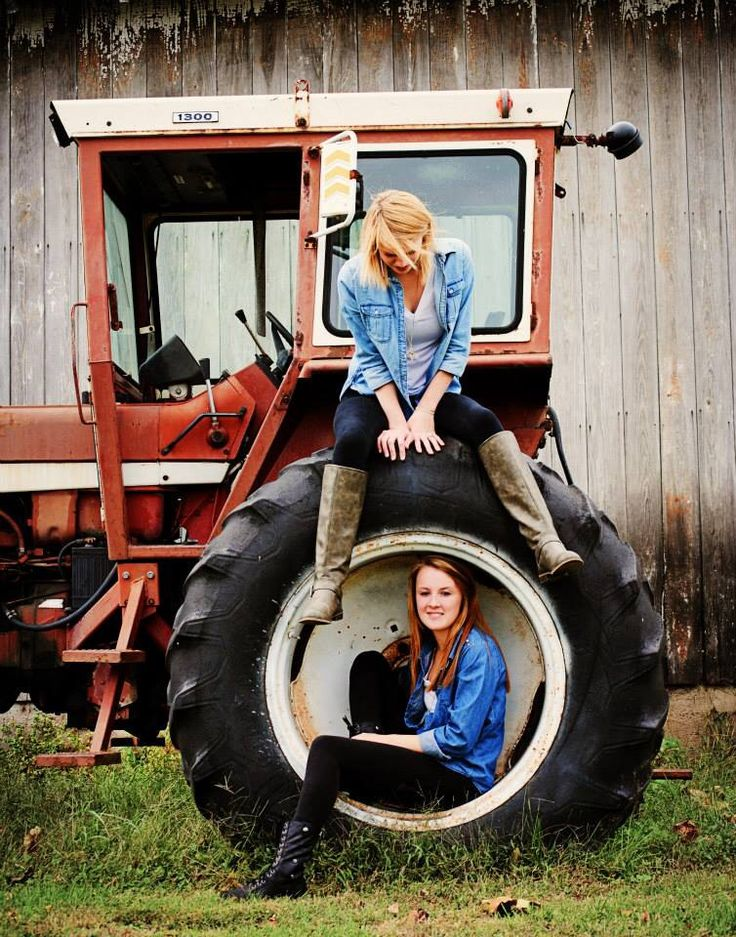 Country / Best Friend Photo Shoot / Photography Ideas, posing with a tractor and farm