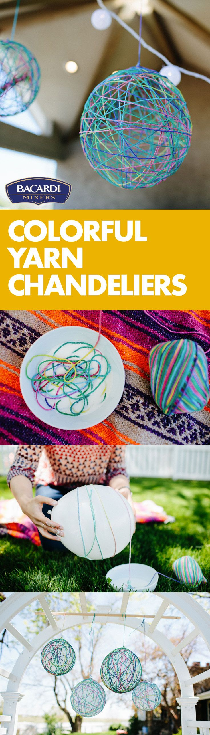 Hang Colorful Yarn Chandeliers wherever you like to hang out! They're fun to make and will wow your guests! You'll need colorful yarn, glue, cornstarch, petroleum jelly, scissors, and balloons—plus a few things to help keep things tidy.