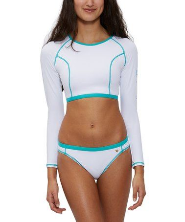 37ac383f88 White  Juicy Couture  Long-Sleeve Bikini Top   Bikini Bottoms - Women    Juniors  zulilyfinds