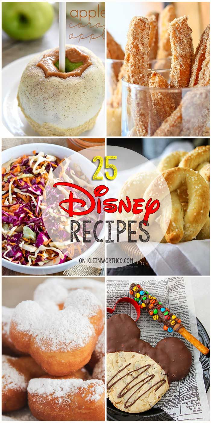 25 Disney Inspired Recipes from all your favorite places in the park. If you love Disney food & recipes, you will love all these inspired dishes. Dig in! via @KleinworthCo