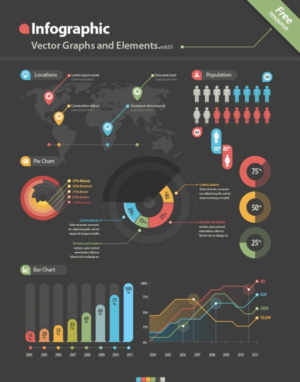 Vector graph infographic set