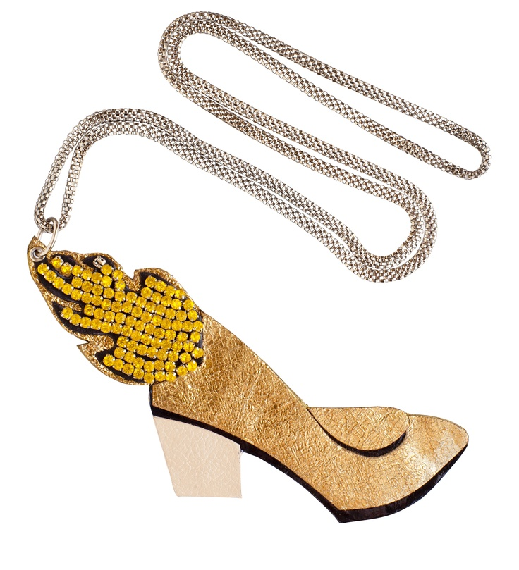 #JOANNEHYNES FLAMING HEELS PENDANT   €150  SHOP: http://www.joannehynes.com/shop/leather-and-crystal-pendants/flaming-heels-pendant-made-to-order/