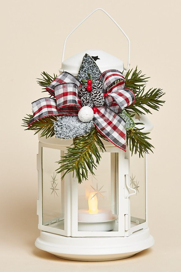 """8""""H White Lantern with Removable Holiday Decor Featuring Frosted Greens, a Red, Grey and White Plaid Bow and Battery Tea Light"""