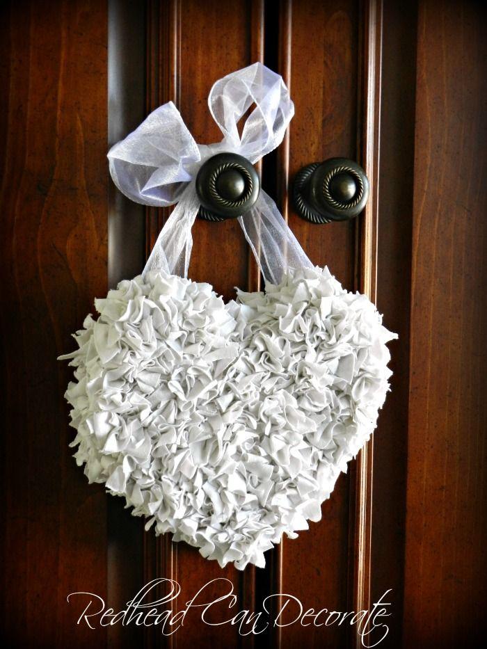 Old T-Shirt Scrap Heart Wreath