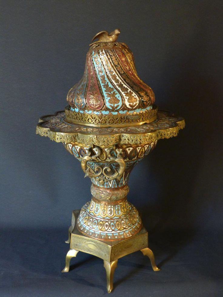 Antique for sale Turkish brazier ottoman mangal in enamelled copper and bronze Enamel Goldsmith's art Household silver Enamel Decorative art