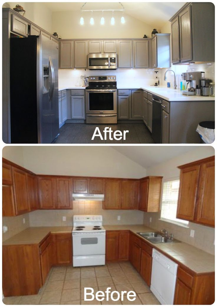 DIY Kitchen Re-Do. Rust-Oleum cabinet resurfacer painted with gray color…