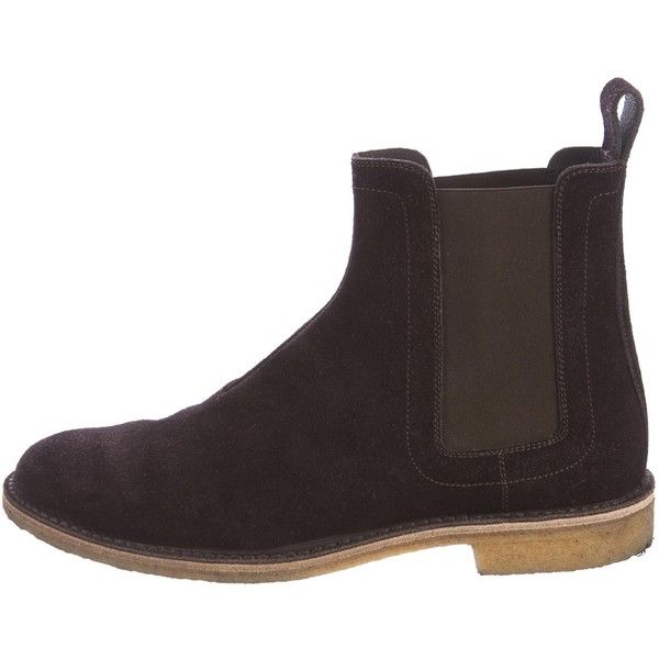 Pre-owned Bottega Veneta Suede Chelsea Boots ($295) ❤ liked on Polyvore featuring shoes, boots, brown, rubber sole boots, brown chelsea boots, suede shoes, chelsea ankle boots and suede boots