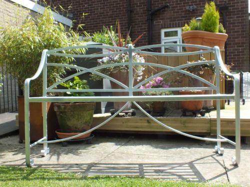 Wrought-Iron-Bench-Galvanised-Heavy-Metal-Garden-Furniture