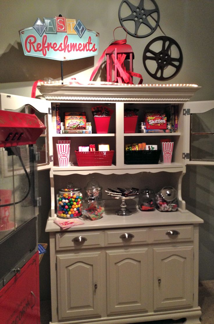 Eve, my hutch from Goodwill, has a new role in my home as a movie theater concession stand! Containers from Goodwill filled with candy. Film reels were given to my by a friend.Every night is movie …