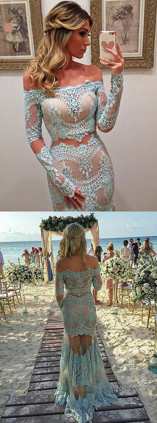 2017 two piece long prom dress, lace long prom dress, mermaid long prom dress, blue prom dress
